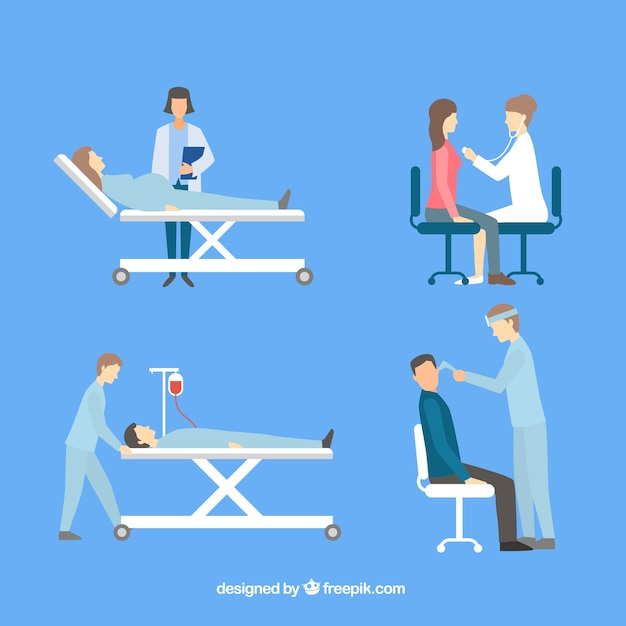 Collection de quatre médecins avec des patients Vecteur gratuit