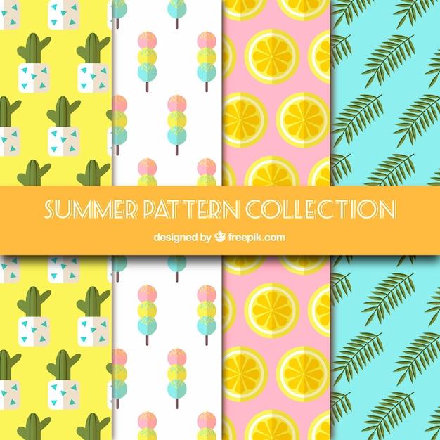 Collection de quatre motifs plats pour l'été Vecteur gratuit