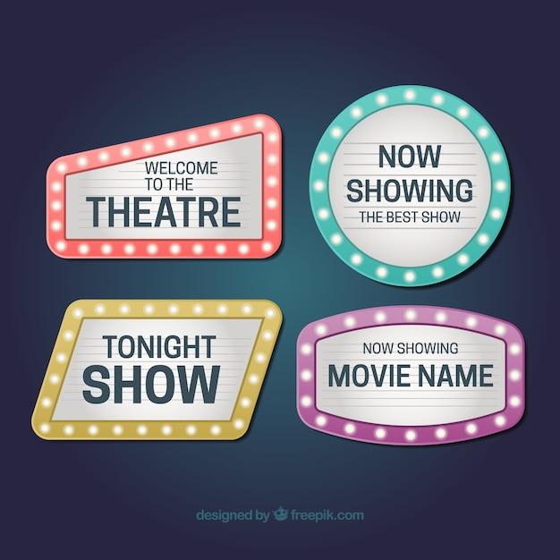 Collection de quatre signes brillants pour les théâtres Vecteur gratuit