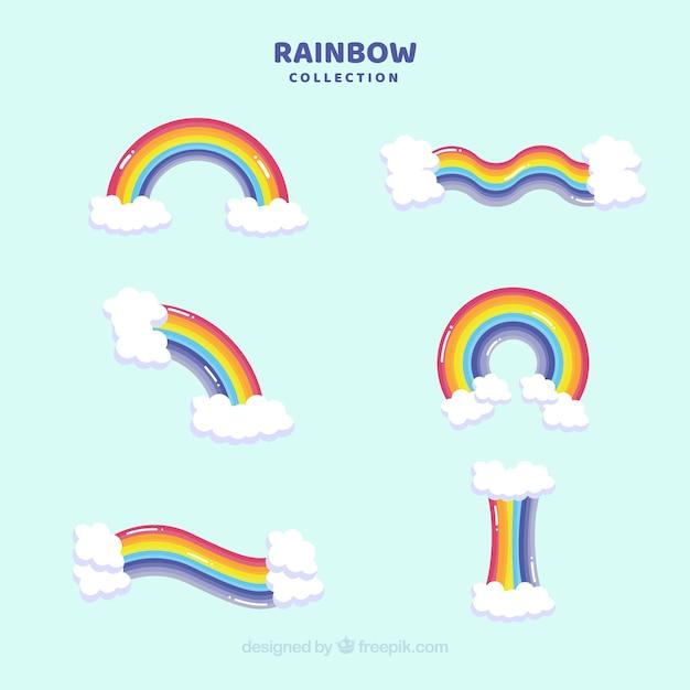 Collection de rainbows avec différentes formes en syle plat Vecteur gratuit
