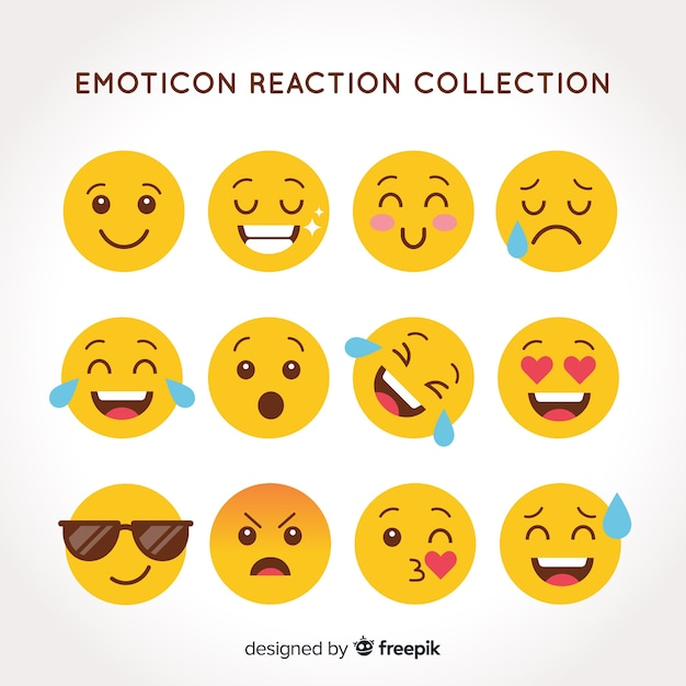 Collection de réactions émoticônes plates Vecteur gratuit