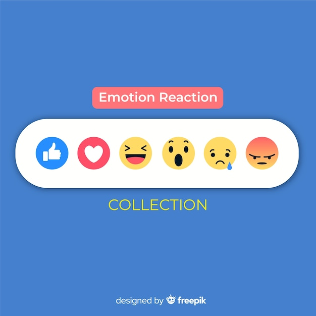 Collection de réactions d'émoticônes Vecteur gratuit