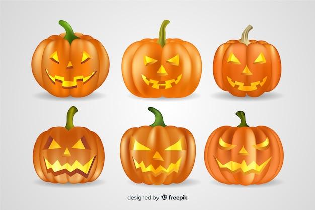 Collection réaliste de citrouilles d'halloween Vecteur gratuit