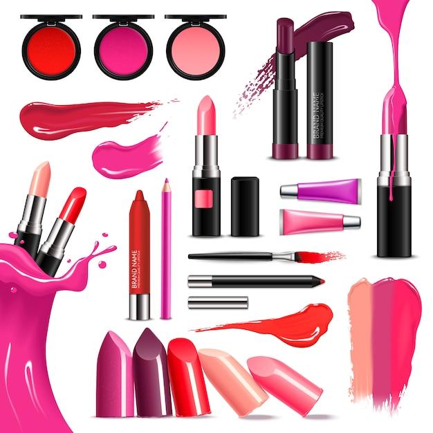 Collection réaliste de couleur de maquillage de lèvre Vecteur gratuit