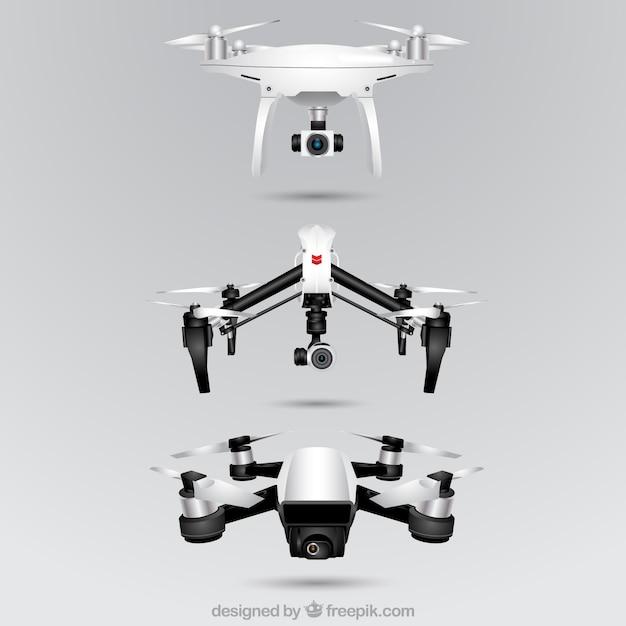 Collection réaliste de drones de trois Vecteur gratuit