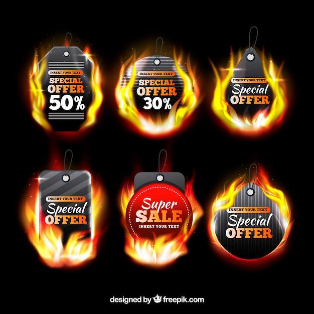 Collection réaliste d'étiquettes de feu Vecteur gratuit