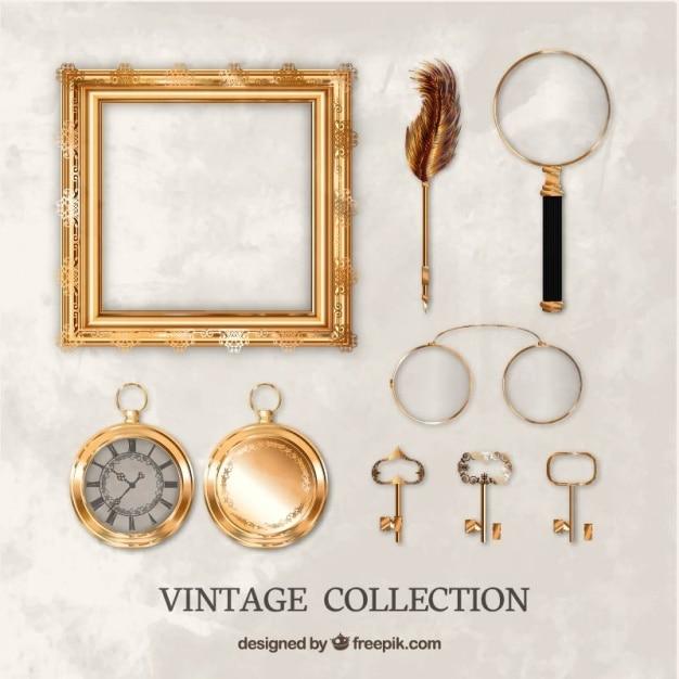 Collection réaliste des objets anciens Vecteur gratuit