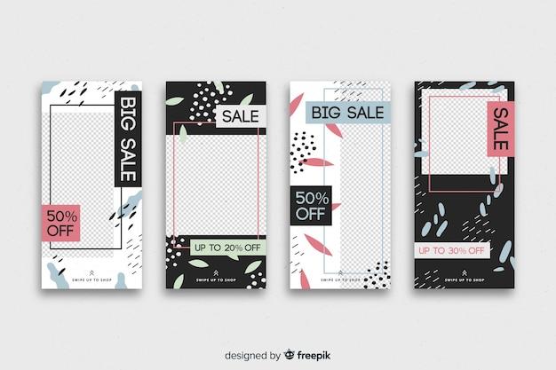 Collection De Récits Instagram De Vente Abstraite Vecteur gratuit