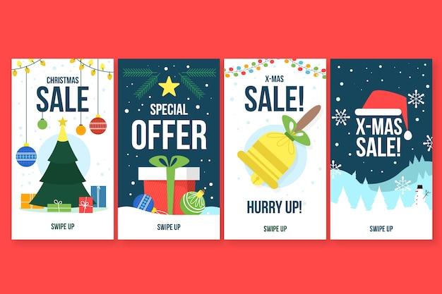 Collection de récits instagram de vente de noël Vecteur gratuit