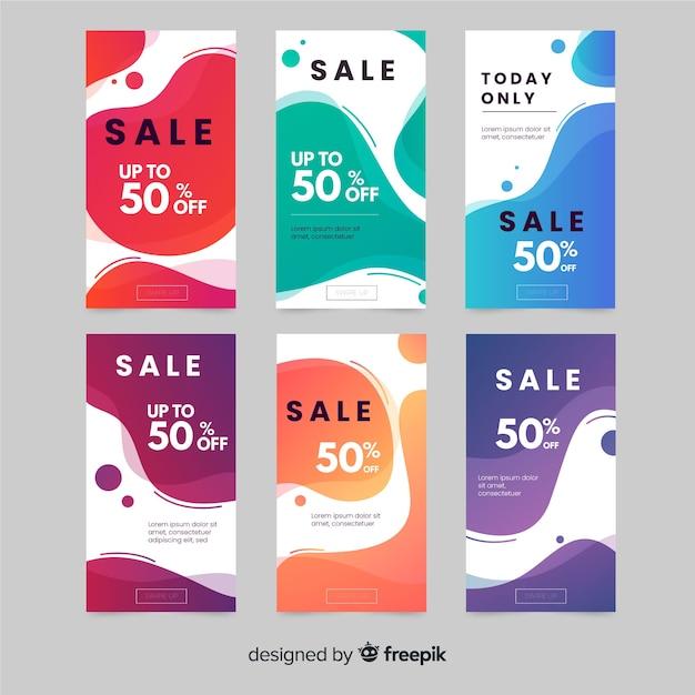 Collection de récits instagram de vente Vecteur gratuit