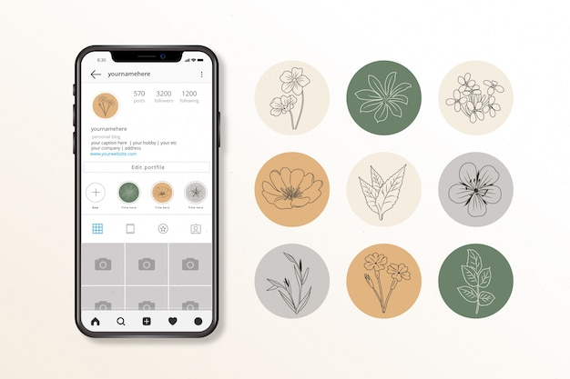 Collection De Reflets Floraux Instagram Vecteur gratuit