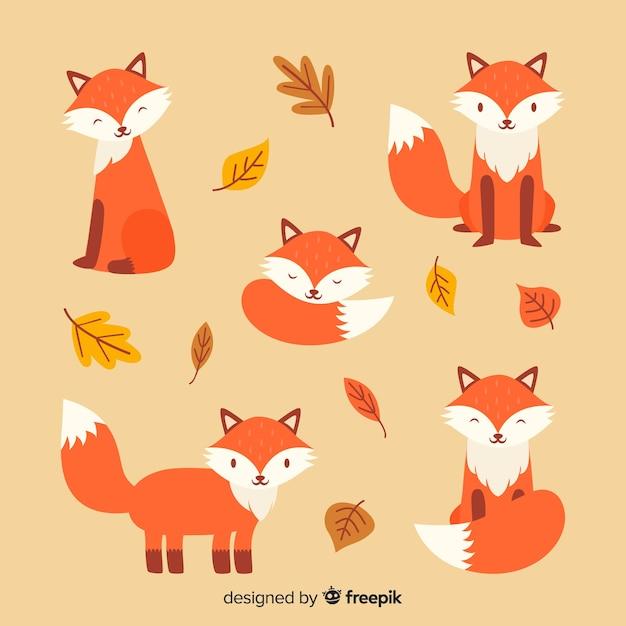 Collection de renards dessinés à la main Vecteur gratuit