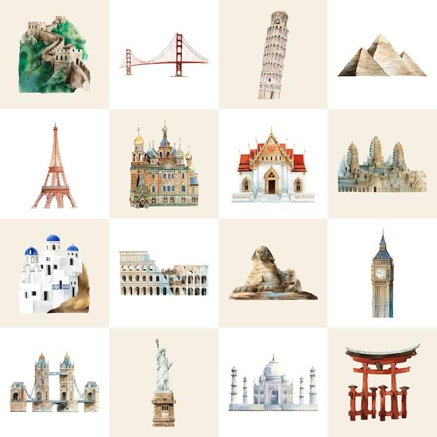 Collection de repères architecturaux peints à l'aquarelle Vecteur gratuit