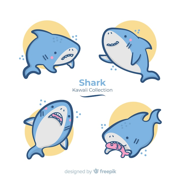 Collection de requins dessinés à la main kawaii Vecteur gratuit