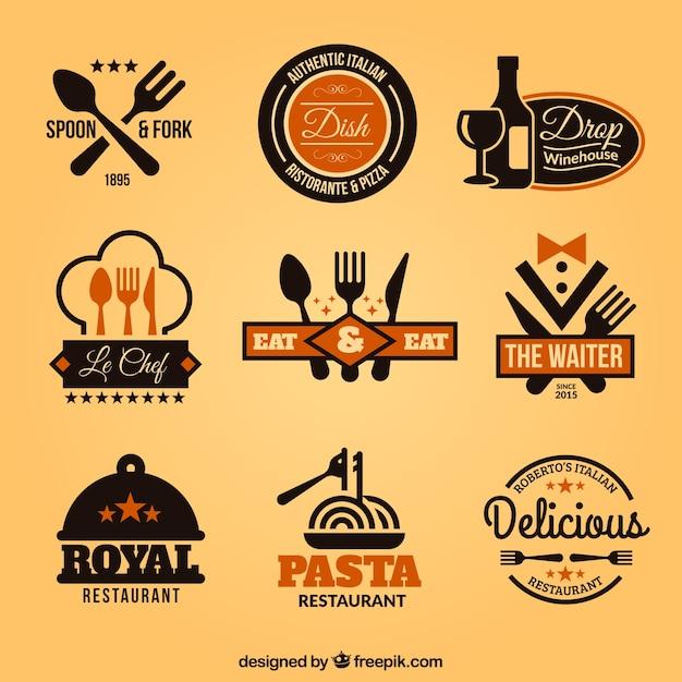 Collection de restauration badges Vecteur gratuit