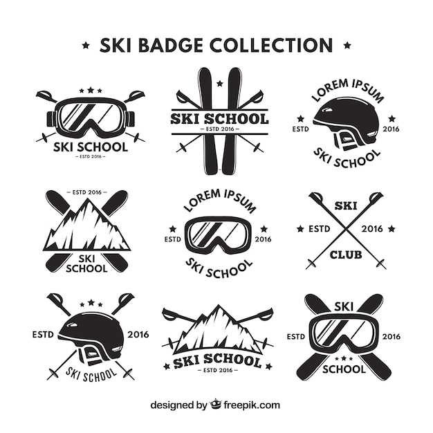 Collection De Rétro Logo De Ski Vecteur gratuit