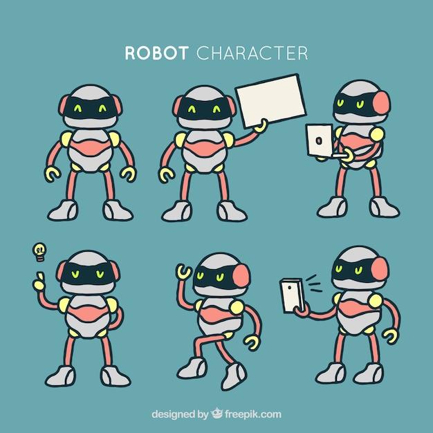 Collection de robots dessinés à la main Vecteur gratuit
