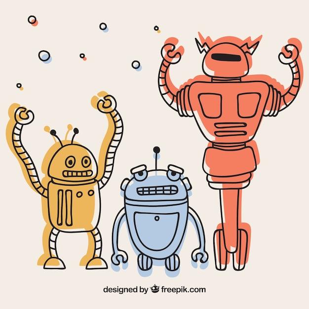 Collection De Robots Plats Vecteur gratuit