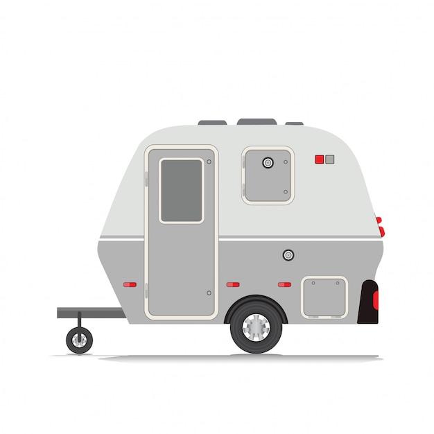 Collection de roulottes de camping rétro. Vecteur Premium