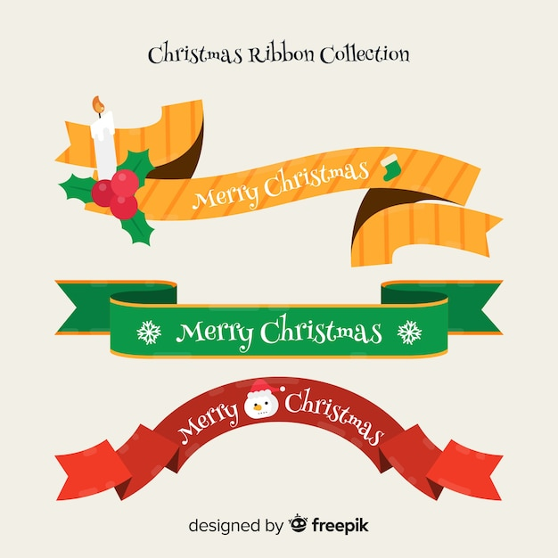 Collection De Ruban De Noël Au Design Plat Vecteur gratuit