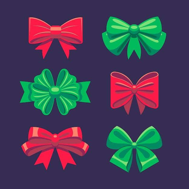 Collection De Ruban De Noël Plat Vecteur gratuit