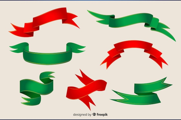 Collection de ruban rouge et vert plat de noël Vecteur gratuit