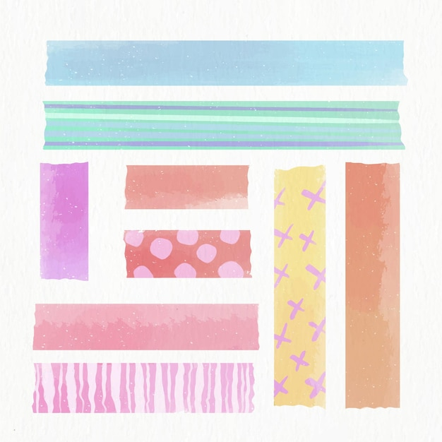 Collection De Ruban Washi Aquarelle Vecteur Premium