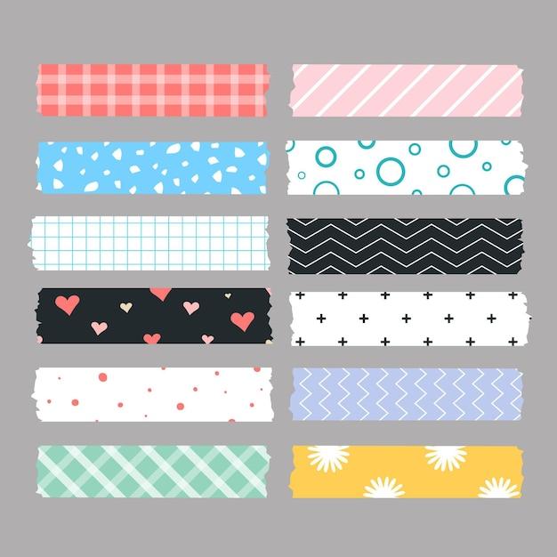 Collection De Ruban Washi Plat Vecteur gratuit