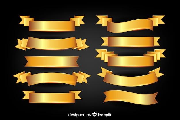 Collection de rubans dorés de noël réalistes Vecteur gratuit