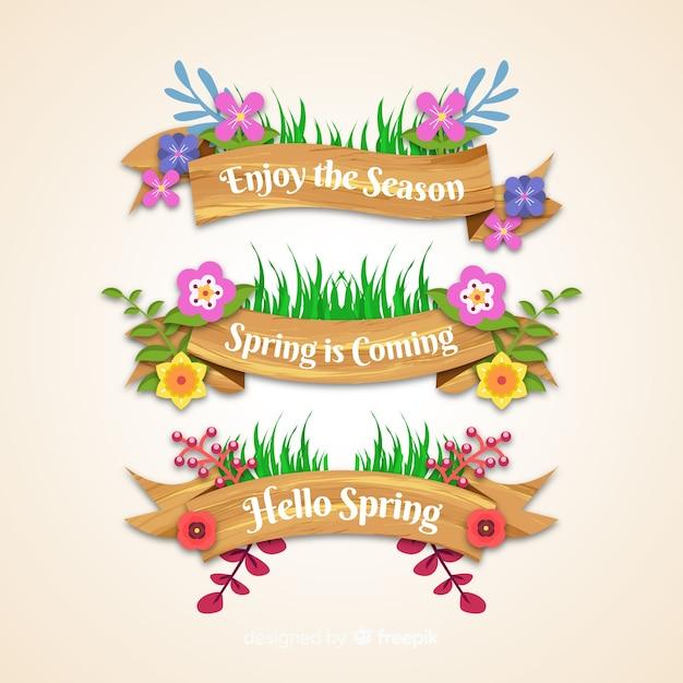 Collection de rubans floraux de printemps Vecteur gratuit