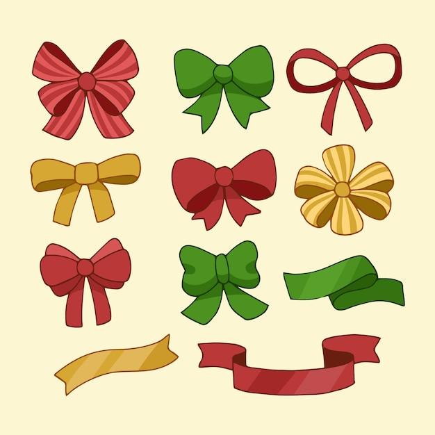 Collection De Rubans De Noël Dessinés à La Main Vecteur gratuit