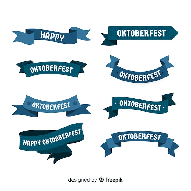 Collection de rubans oktoberfest design plat Vecteur gratuit