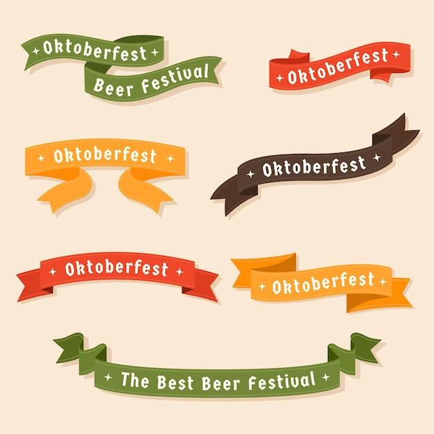 Collection De Rubans Oktoberfest Vecteur Premium