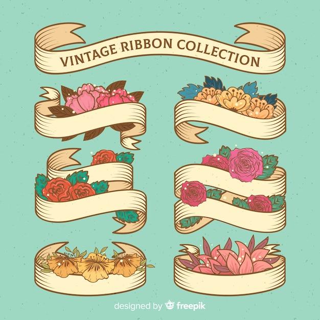 Collection De Rubans De Printemps Vintage Vecteur gratuit