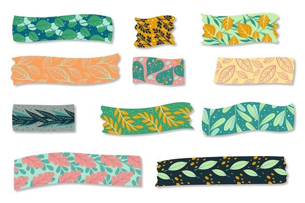 Collection De Rubans Washi Dessinés à La Main Vecteur gratuit