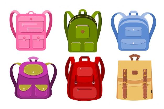 Collection de sacs à dos d'école Vecteur Premium