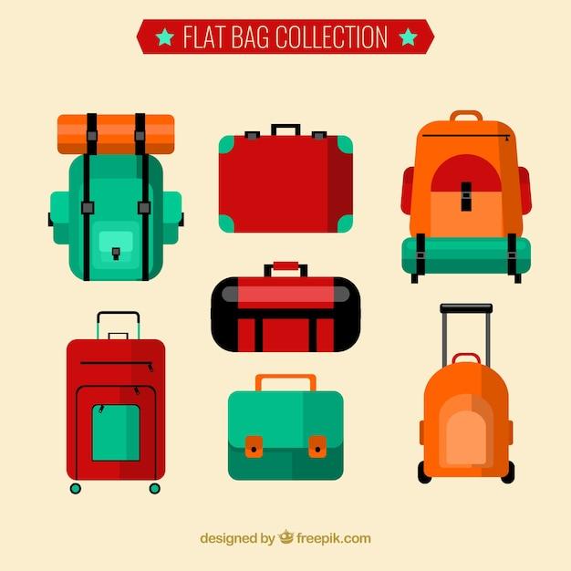 Collection de sacs à dos plat et valises Vecteur gratuit