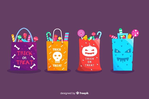 Collection de sacs halloween trucs et gâteries Vecteur gratuit