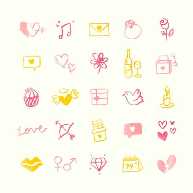 Collection de la saint-valentin illustrée Vecteur gratuit