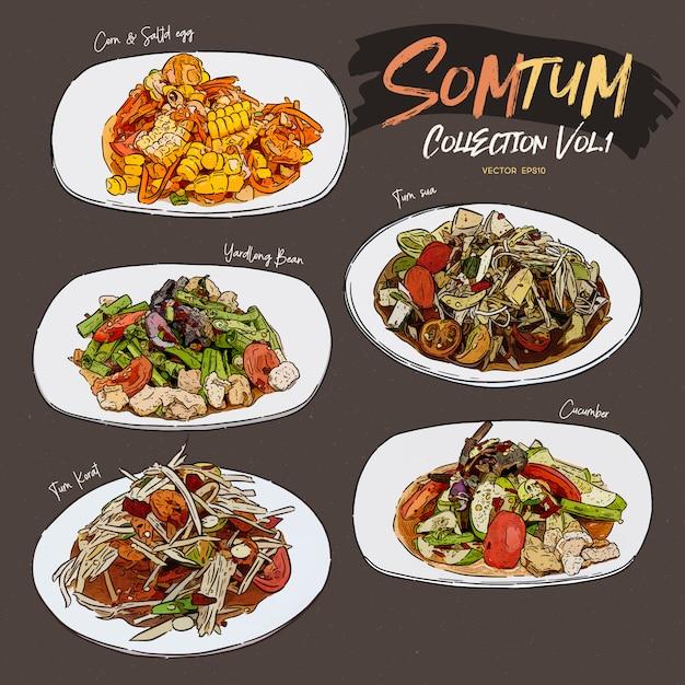 Collection De Salades Somtum Vecteur Premium