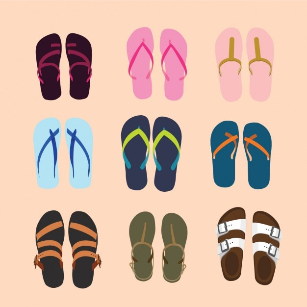 Collection Sandals Vecteur gratuit