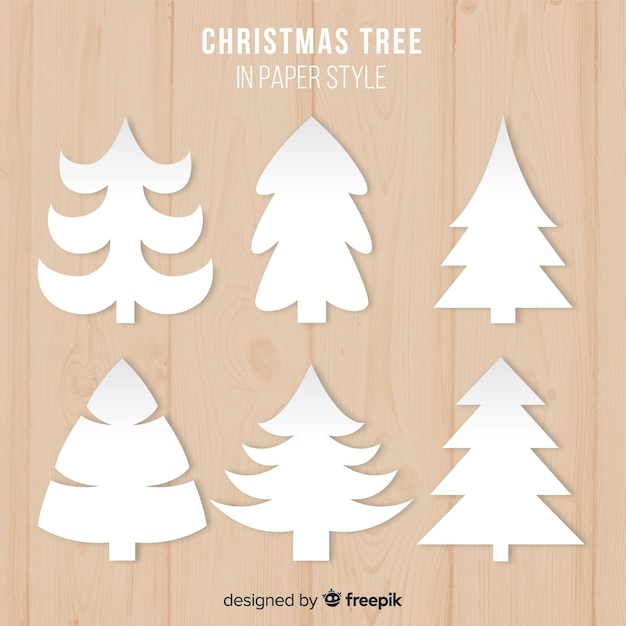 Collection de sapins de noël en papier Vecteur gratuit