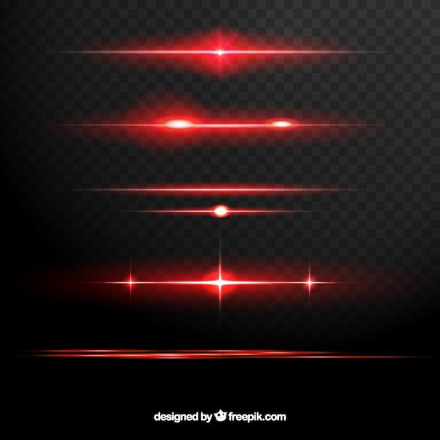 Collection de séparateurs de fusées éclairantes rouges Vecteur gratuit