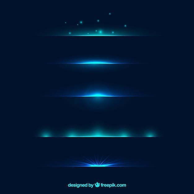 Collection de séparations avec effet de lumière bleue Vecteur gratuit