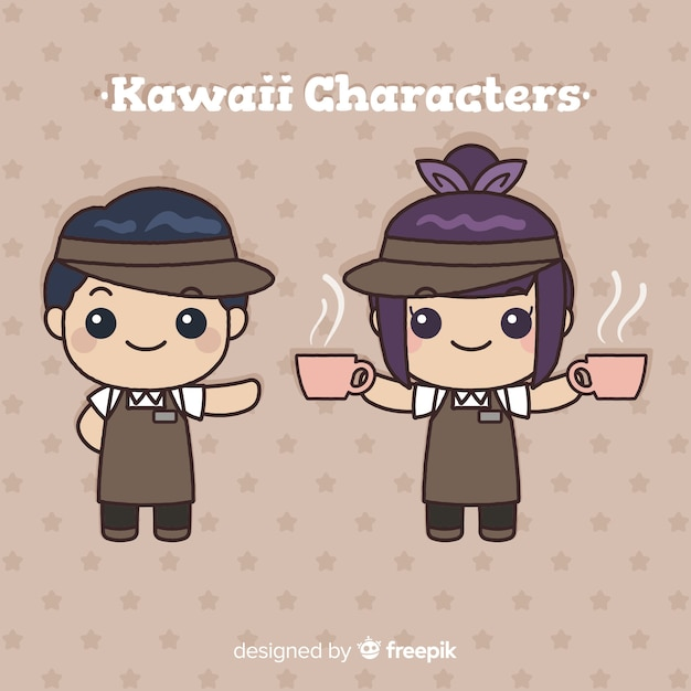 Collection de serveurs kawaii dessinés à la main Vecteur gratuit