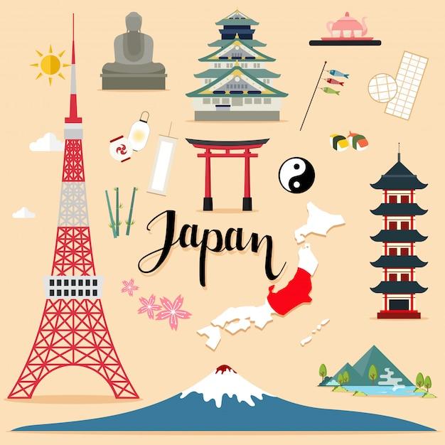 Collection de sets touristiques au japon Vecteur Premium