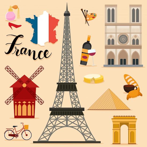 Collection de sets touristiques france Vecteur Premium