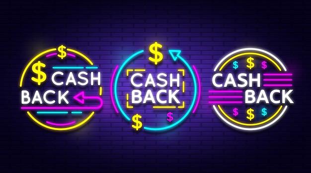 Collection De Signe De Cashback Au Néon Vecteur gratuit