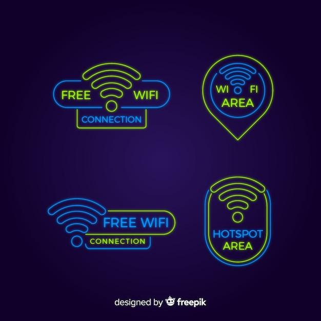 Collection de signe de néon wifi Vecteur gratuit