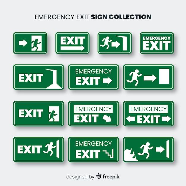 Collection de signe de sortie au design plat Vecteur gratuit